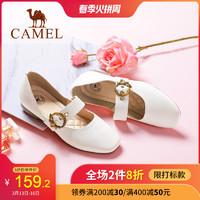 駱駝真皮女鞋 春季新款瑪麗珍鞋平底單鞋女奶奶鞋平跟休閑皮鞋