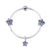 PANDORA潘多拉 夢幻星辰捕夢網 藍色手鏈套裝 兩顆珠子+吊墜+手鏈 18cm