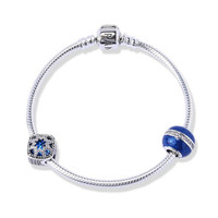 PANDORA潘多拉 夢幻星辰捕夢網 藍色手鏈套裝 兩顆串珠+手鏈