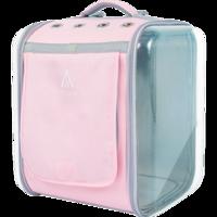 寵覓petseek貓包 雙面透明寵物背包 可折疊易收納貓包太空包 粉紅色
