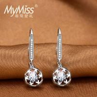 Mymiss 鑲嵌施華洛世奇人工鋯石925銀雪花耳環