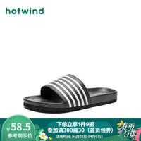 熱風拖鞋男hotwind 2020夏季新款男士時尚家居拖防滑休閑涼拖鞋浴室男鞋 01黑色 43 *8件