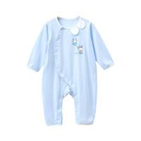 貝吻 嬰兒衣服 新生兒衣服嬰兒連體衣3-6個月寶寶爬服6199 藍色 6-12個月 *3件