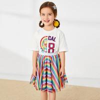 minipeace太平鳥童裝 夏季新款女童彩虹短袖T恤卡通蕾絲拼接短袖