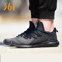 361男鞋2018年春季新款跑步鞋361度黑色網面透氣減震輕便運動鞋男