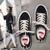 黑色帆布鞋女鞋2019潮鞋春季學生韓版ulzzang板鞋港味復古布鞋子