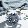 大容量玻璃牛奶杯燕麥杯子日式帶勺早餐杯耐熱沙拉碗學生辦公家用