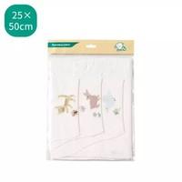 全棉時代 嬰兒汗巾 25*50cm 3條/袋 小貓+小鹿+小鳥 *5件