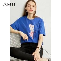 Amii可愛卡通印花短袖T恤2020春新款潮ins中長款打底衫寬松上衣女