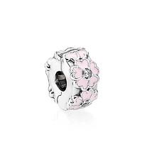 PANDORA 潘多拉 女士粉色櫻草花固定夾925銀飾掛件 791823EN68