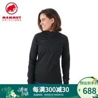 MAMMUT/猛犸象 Snow ML Half Zip 女士秋冬彈性透氣保暖舒適抓絨長袖T恤 黑色 M