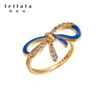fellala翡拉拉結系列時尚戒指女 蝴蝶結浪漫優雅輕奢琺瑯指環尾戒 天藍色 S/內徑17 *3件