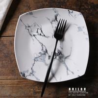 創意陶瓷盤子方形石紋盤家用沙拉盤酒店碗盤碟