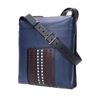 BALLY 巴利 男士海藍色紅白條紋皮質鏤空裝飾郵差包單肩包 BAUMAS P 117