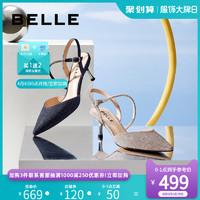 百麗一字帶涼鞋女2020春夏新品商場同款仙女風高跟涼鞋BSCD4AH0
