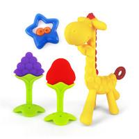 HONGDENG 宏登 長頸鹿牙膠寶寶磨牙棒新生嬰兒咬咬膠小鹿硅膠玩具 3個月以上 *3件