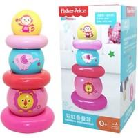 費雪Fisher-Price 早教 彩虹疊疊球 嬰幼兒童疊疊樂層層疊圈