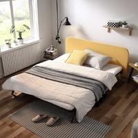 林氏木業鐵藝床北歐公主床雙人床1.8米現代簡約軟包靠背鐵床LS138