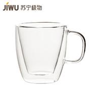 蘇寧極物 雙層隔熱玻璃水杯把手創意茶杯 400ml雙層耐熱玻璃水杯 創意帶把平耳咖啡杯 隔熱透明茶杯辦公杯 *6件