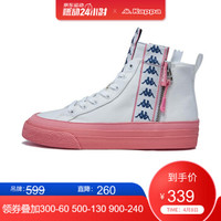 Kappa卡帕女款運動板鞋高幫串標輕便休閑帆布鞋K0965CC47 韓國白-012 36