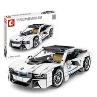 森寶科技系列寶馬I8超級回力跑車賽車兼容樂高兒童拼裝積木玩具