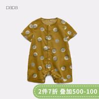 papa爬爬兒童連體衣夏純棉男女寶寶短袖印花連體衣嬰兒爬服0-3歲 黃色 80cm 9-12個月 *5件