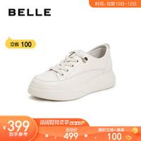 BELLE/百麗秋新商場同款牛皮革女小白鞋車縫線厚底中跟休閑鞋91137CM9 米白 36