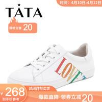 Tata/他她2019春專柜同款白色牛皮革涂鴉小白鞋板鞋休閑女鞋FW620AM9 白色 36 *2件