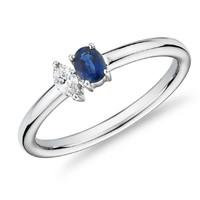 复活节狂欢、银联专享:Blue Nile 蓝宝石与钻石双叠戴戒指