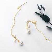 匠芊泽 JQZ-0013 s925银镀18k 珍珠流苏耳饰