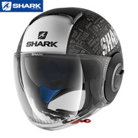 Shark 鲨科 纳米系列摩托车夏季半盔 黑灰白RIDE-HE2801KWA M