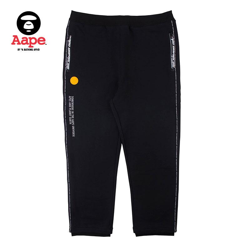 Aape 6328XX9 男士印花直筒加绒慢跑裤
