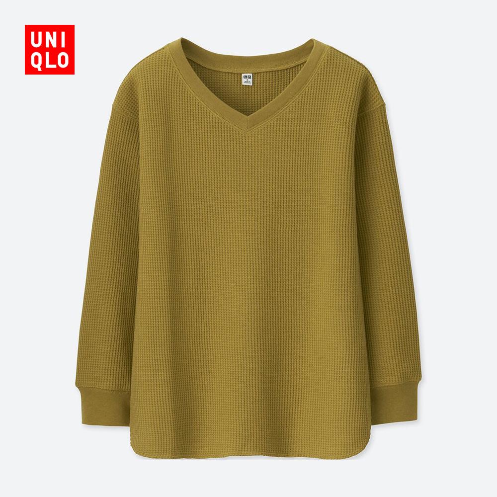 UNIQLO 优衣库 406564 女士华夫格V领T恤