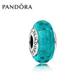 PANDORA 潘多拉 791655 亮青色闪烁琉璃串珠