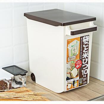 inomata 带盖厨房防潮米桶10kg 象牙白