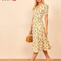 Haoduoyi XK53T30163 法式复古连衣裙