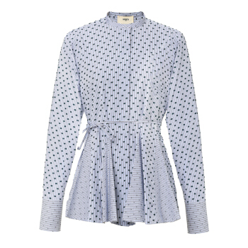 PORTS1961女士白色/蓝色长袖衬衫 意大利码