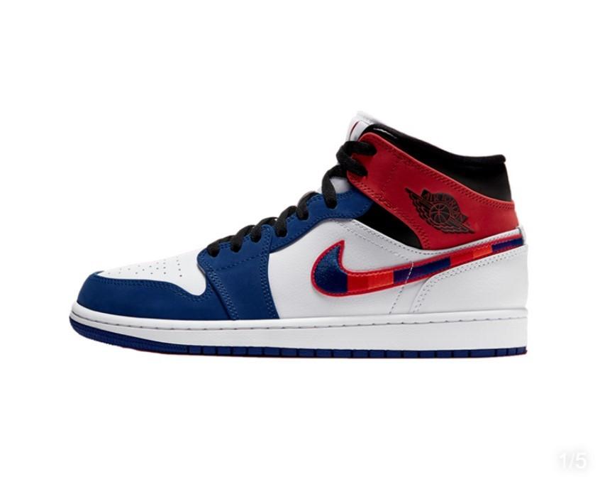 NIKE 耐克 Air Jordan 1 Mid 852542 男款白蓝红彩钩篮球鞋