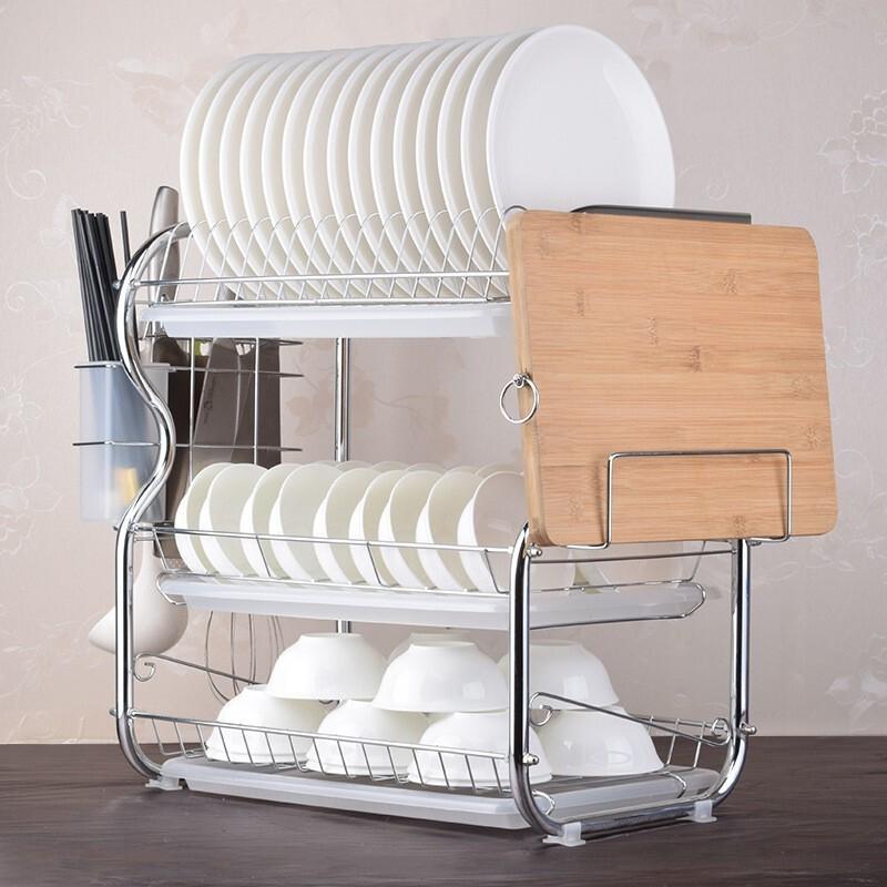 普拉度 厨房三层碗碟沥水架 53*23*44cm