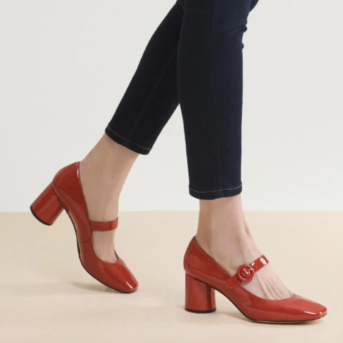 网易严选 女式方头粗跟玛丽珍鞋