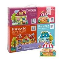 弥鹿(MiDeer)儿童拼图3-6岁纸质玩具四合一主题拼图礼盒套装 童话小镇 *2件