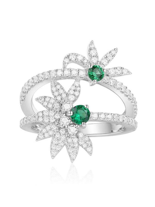 apm MONACO A18653XKG 薄荷绿晶钻花形925银戒指