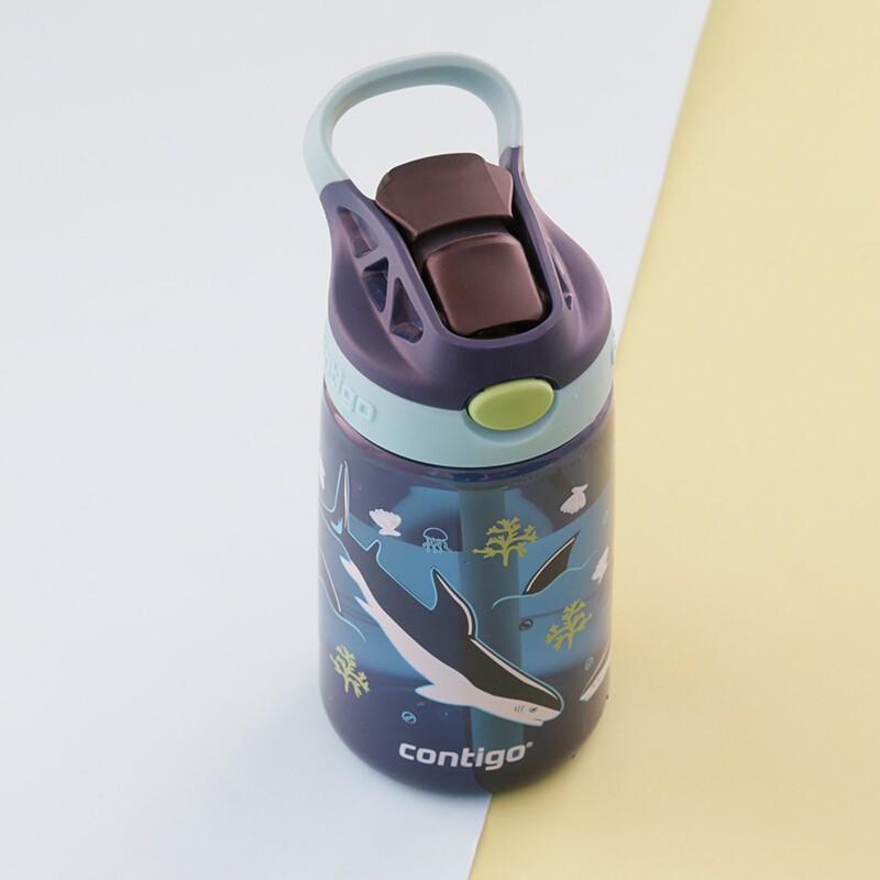 contigo 康迪克 HBC-GIZ142 儿童吸管塑料水杯 400ml 蓝色