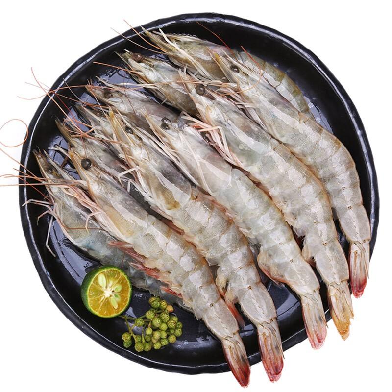 九善食 原装进口厄瓜多尔白虾净重400g/盒