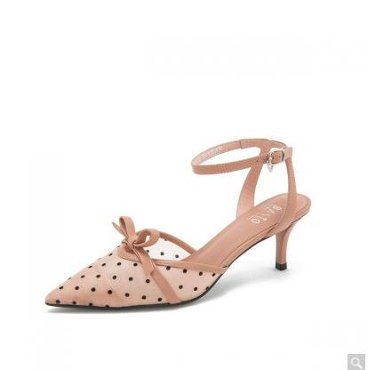 BASTO 百思图 RRJ02BH9 蝴蝶结 女士细跟凉鞋