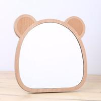 木丁丁 木质台式化妆镜 熊耳朵 支架款