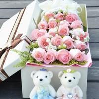 京东PLUS会员:中礼 粉红女郎 19朵粉玫瑰花礼盒