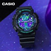61预售:CASIO 卡西欧 G-SHOCK系列 GA-100BL-1ADR 炫色双显男士电子表