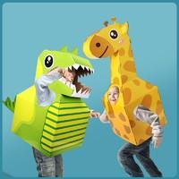 勾勾手 儿童可穿戴DIY纸盒恐龙玩具 送胶纸