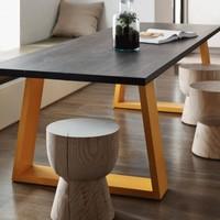 兆生 简易实木餐桌 120*60*75cm (厚度5cm)